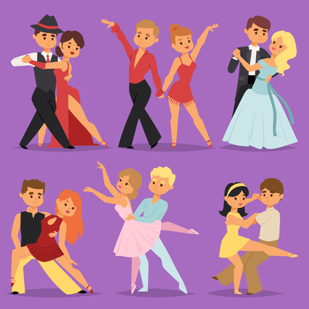 Dancing couples romantic person and people dance man with woman entertainment together beauty vector illustration cartoon style Illustration