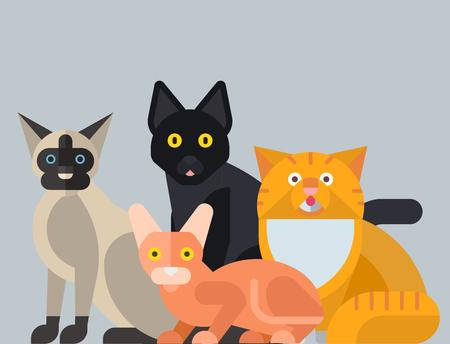 Chats vector illustration animaux mignons personnages décoratifs drôles couleur chaton félin abstraite domestiques branché animal de compagnie dessiné. Bonne fourrure de mammifère adorable petite chatte. Banque d'images - 83218053