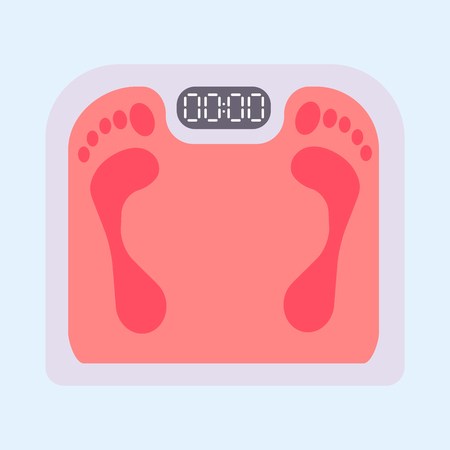 Weight scale healthy balance measure dieting body mass overweight instrument vector illustration. Control obesity equipment with footprint. Stock Photo