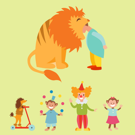 tigre cachorro: Animales divertidos de circo conjunto de iconos vectoriales colección de entretenimiento alegre zoológico. Malabarista acaricia la ilustración del carnaval del ejecutante del mago. Personaje de acróbata de la vendimia