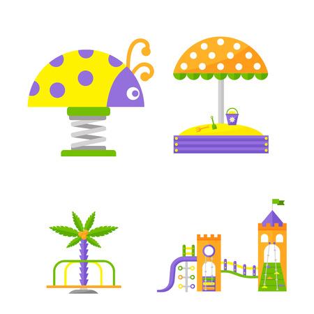 활동 평면 스윙 벡터 일러스트와 함께 어린이 놀이터. 유치원 놀이를위한 행복한 야외 여름 장소 레크 리 에이션 장비.