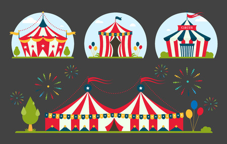 Circus tent marquee with stripes and flags carnival for entertainment amusement