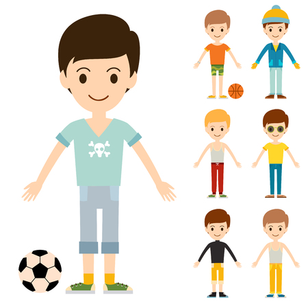 Group of young kids portraits vector illustration. Handsome teamwork casual fashion friends.