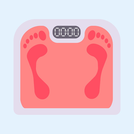 Weight scale equipment with footprint. Illustration