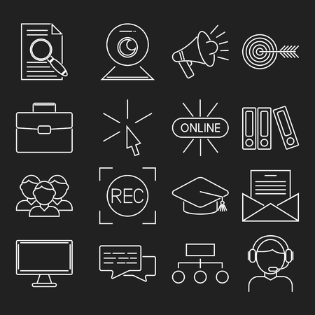 Outline icons for online education video tutorials staff training book store learning research knowledge vector illustration. Internet technology distance profession service web concept. Stock Vector - 83250811