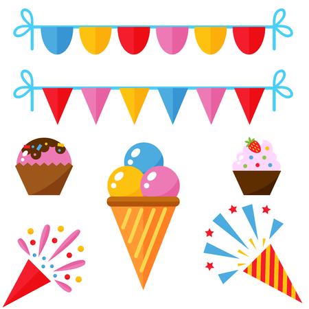 Partij pictogrammen viering gelukkige verjaardag verrassing decoratie evenement verjaardag collectie. Leuke partij symbolen presenteren entertainment vectorillustratie.