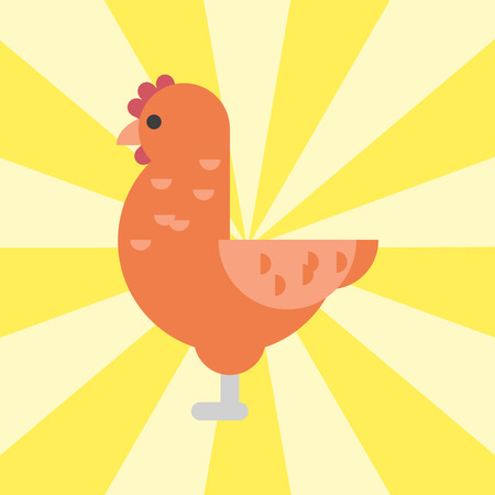 Cute cartoon rooster illustration for chicken farm animal agriculture domestic character.