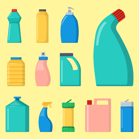 kitchen cleaning: Bottles of household chemicals supplies cleaning housework liquid domestic fluid cleaner pack vector illustration.