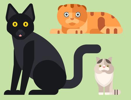 Chats vector illustration animaux mignons personnages décoratifs drôles couleur chaton félin abstraite domestiques branché animal de compagnie dessiné. Bonne fourrure de mammifère adorable petite chatte. Banque d'images - 83284973