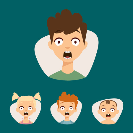 sexes: Vector set beautiful emoticons face of people fear shock surprise avatars. Set of cartoon human head person character different sexes sadness confused depression. Illustration