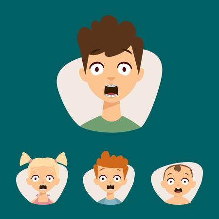 Vector set mooie emoticons gezicht van mensen vrezen schok verrassing avatars. Set van cartoon menselijk hoofd persoon karakter verschillende seksen verdriet verward depressie. Stockfoto - 83284989