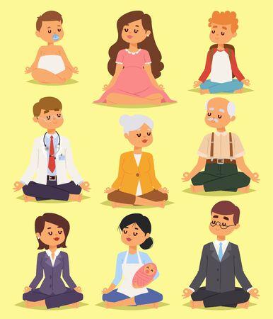 joga: Lotus position yoga pose meditation relax people character happiness vector illustration.