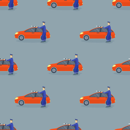 Flat car vehicle type design sedan seamless pattern vector generic classic business auto illustration.