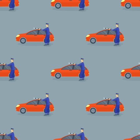 Flat car vehicle type design sedan seamless pattern vector generic classic business auto illustration.