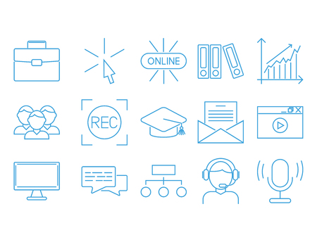 Flat outline icons online education staff training book store distant learning knowledge vector illustration Stock Photo