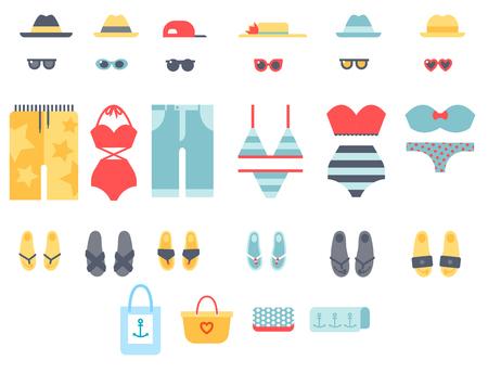 休暇のライフ スタイルの女性コレクション海光美服ベクトル図のビーチウェア ビキニの布ファッションに見える 写真素材