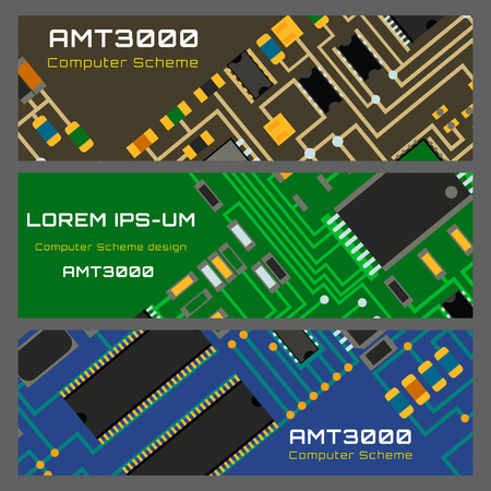 Computer chip technology processor circuit motherboard information system vector illustration Фото со стока