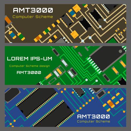 Computer chip technology processor circuit motherboard information system vector illustration Stok Fotoğraf