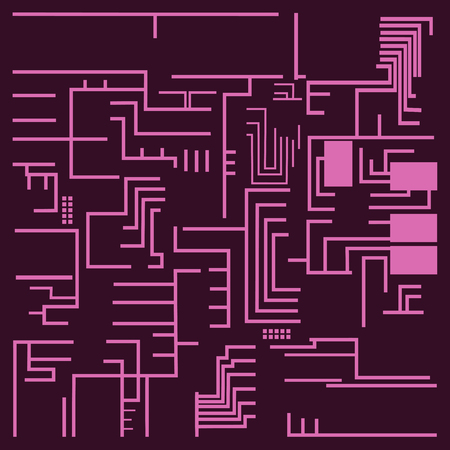 Computer chip technology processor circuit and motherboard information system vector illustration. Electronic board energy microprocessor pattern electricity line connect graphic. 向量圖像