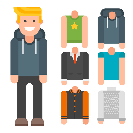 Man constructor body avatar vector cartoon with spare parts animation.