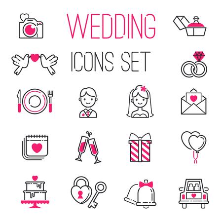 結婚式の日結婚アイコン アイコンのセットをアウトライン婚約得るのための夫婦愛ベクトル図。