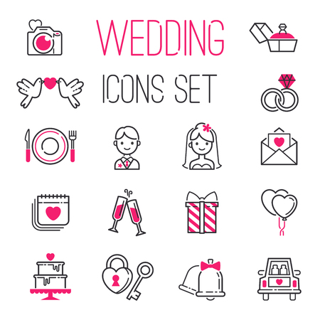 Outline wedding day marriage icons set of icons for engagement get married love vector illustration.