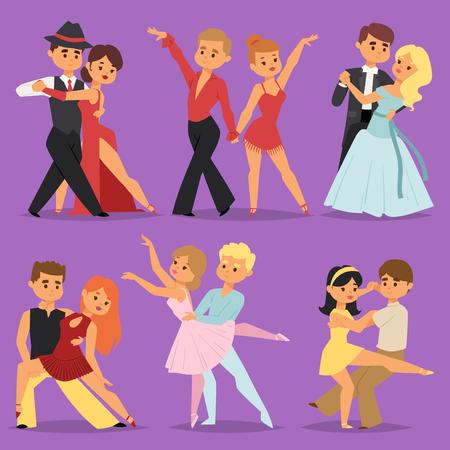 커플 댄스 낭만적 인 사람 사람들이 함께 댄스 남자 엔터테인먼트 함께 아름다움 벡터 일러스트 레이 션. 일러스트