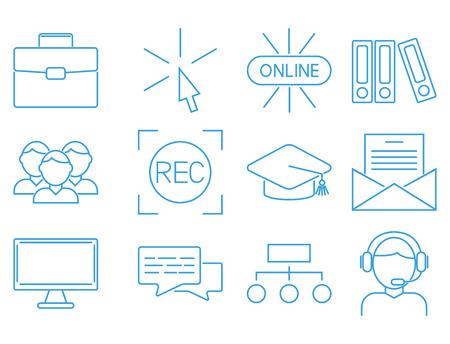 Flat outline icons online education staff training book store distant learning knowledge vector illustration Ilustração