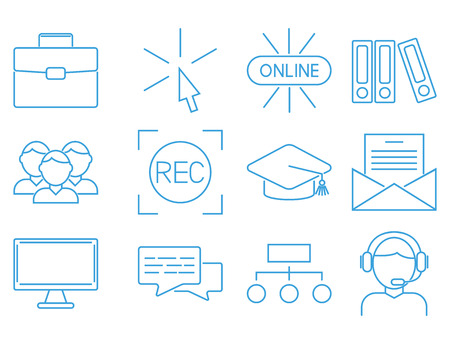 Flat outline icons online education staff training book store distant learning knowledge vector illustration Illustration