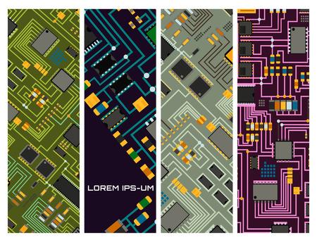컴퓨터 칩 기술 프로세서 회로 마더 보드 정보 시스템 벡터 일러스트 레이션