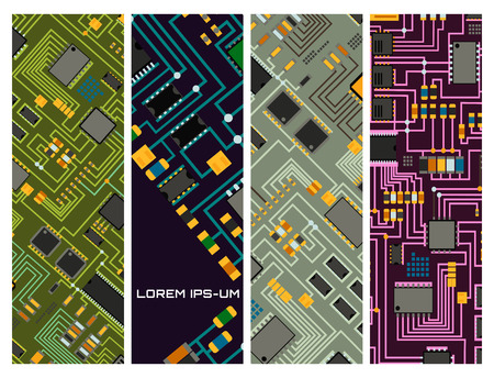 Computer chip technology processor circuit motherboard information system vector illustration Ilustrace