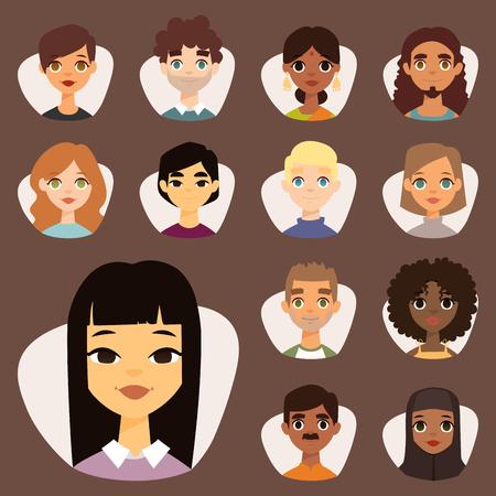 Satz von verschiedenen runden Avatare mit Gesichts-Features verschiedenen Nationalitäten Kleidung und Frisuren Menschen Zeichen Vektor-Illustration