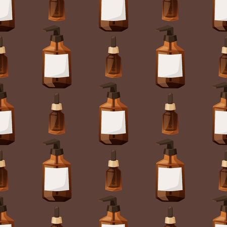 Bottles of cosmetic cosmetology lotion makeup beauty seamless pattern liquid cream container fluid pack vector illustration.