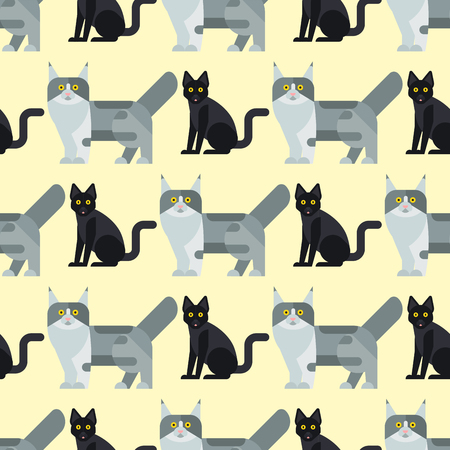 Chats illustration vectorielle mignon animal mignon drôle personnages seamless lapin mignon chien à la main de chat Banque d'images - 83340596