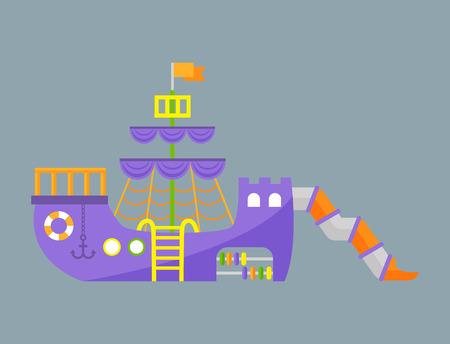 Kinderen speeltuin plezier kindertijd speel park activiteit plaats recreatie schommel apparatuur speelgoed kleuterschool amusement vector illustratie