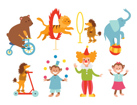 Circus funny animals set of vector icons cheerful zoo entertainment collection juggler pets magician performer carnival illustration.