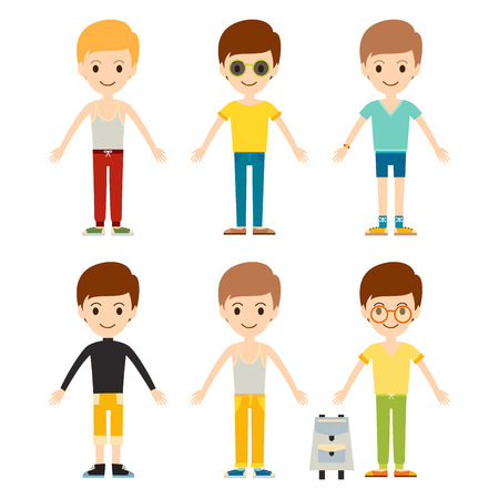 group of young adults: Group of young kid portrait friendship man character team happy people boy person vector illustration.