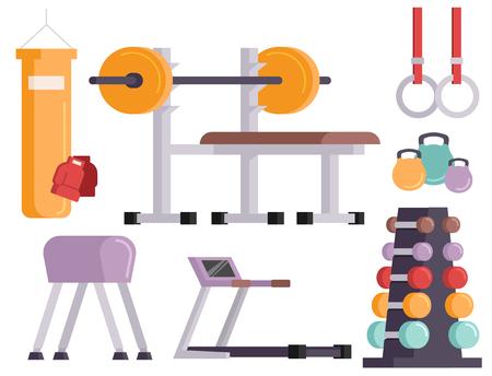 Fitness gym club vector iconen atlet en sport activiteit lichaamsgereedschap wellness dumbbell apparatuur Stock Illustratie