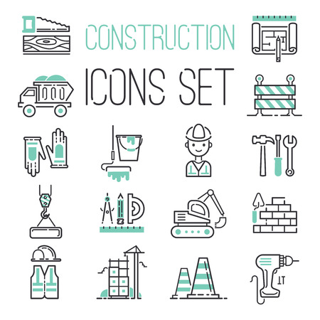 Linear under construction icons set universal web and mobile basic ui elements vector illustration.