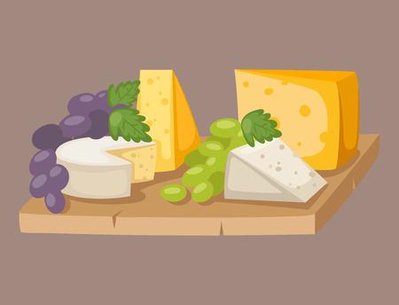 おいしいフレッシュ チーズの様々 なイタリアの異なる夕食ブドウ酪農食品ベクトル図をフラットします。