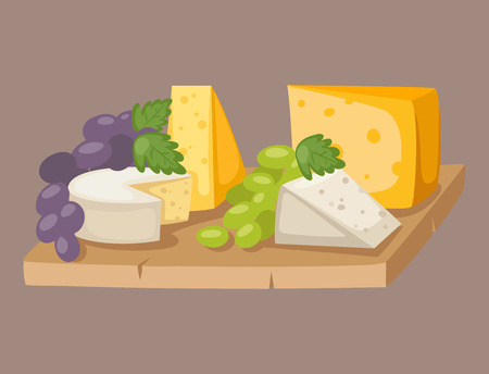 Delicious fresh cheese variety italian different dinner grape flat dairy food vector illustration.