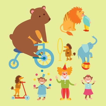 Circus funny animals set of vector icons cheerful zoo entertainment collection juggler pets magician performer carnival illustration. Vektoros illusztráció