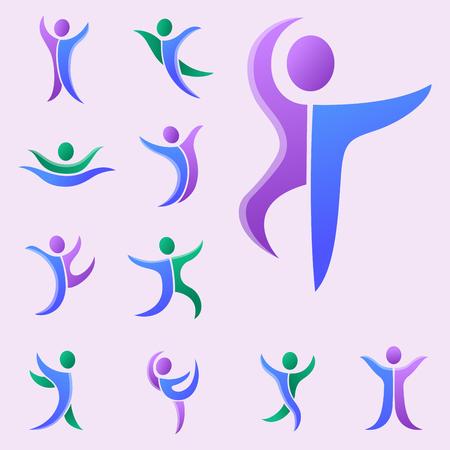 Silhouette résumé personnage personnage logo figure humaine pose illustration vectorielle.