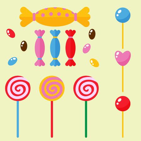 chocolate swirl: Sweets and candies sugar dessert caramel lollipop food icons set striped stick spiral holiday bonbon vector illustration