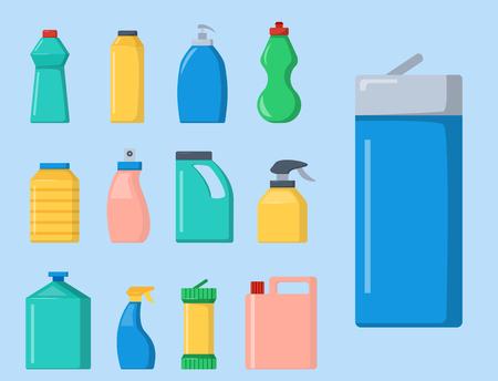 Botellas de productos químicos para el hogar suministros de limpieza de tareas domésticas líquido limpiador de líquidos domésticos ilustración vectorial paquete. Foto de archivo - 83395703