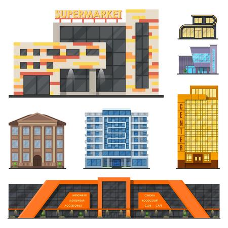 市建物モダンなタワー オフィス建築家ビジネス アパート家のファサード ベクトル図