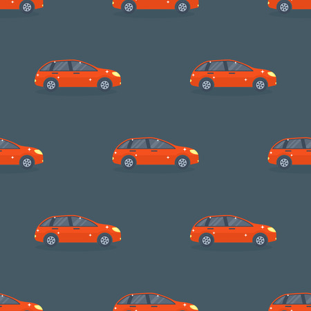 Flat red car vehicle type design sedan seamless pattern vector generic classic business auto illustration.