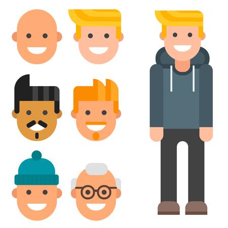 Man constructor body avatar creator vector cartoon character creation spare parts spares animation.
