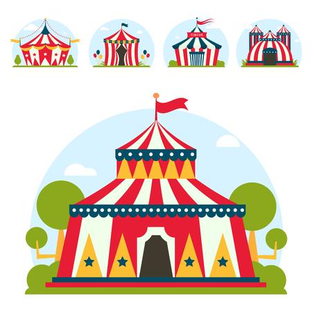 Circus tent marquee marquee 줄무늬와 플래그 카니발 엔터테인먼트 오락 lelements 플랫 벡터. 서커스 텐트 엔터테인먼트, 서커스 빨간 텐트. 카니발 텐트 공원 경기장 축 하합니다. 스톡 콘텐츠 - 83388638