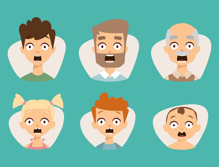 Vector set beautiful emoticons face of people fear shock surprise avatars.
